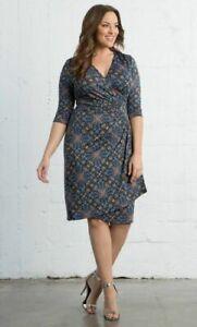 Kiyonna-Women-039-s-Dress-Size-2X-Ciara-Cinch-Geometric-Print-Faux-Wrap-Wear-To-Work