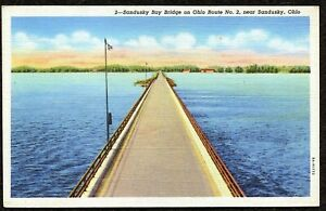 Details about Vintage Postcard, 2 Sandusky Bay Bridge on Ohio Route No 2,  Ohio - C T  Art