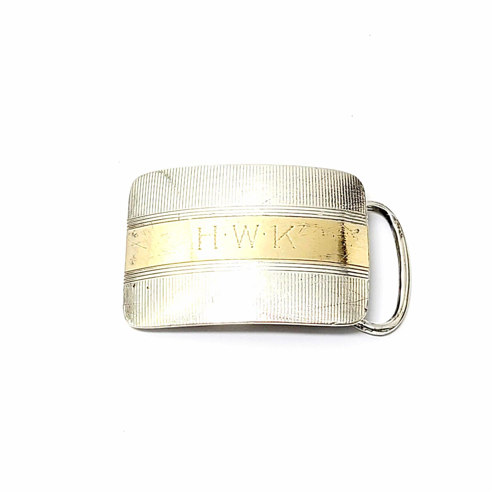 Antique Blackinton Sterling Silver 14K Yellow Gold Belt Buckle #8724