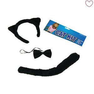 Ears Black Cat Dressing up Set Book Day Halloween Tail and Bow tie Hen Night