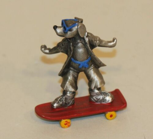 1988 Hudson Fine Pewter Figurine Dog in Sunglasses on Skateboard 4814