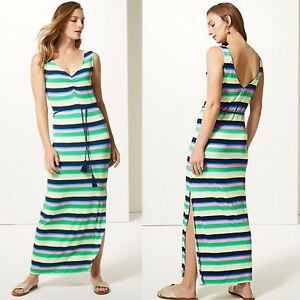 Ladies-Marks-amp-Spencer-Striped-Slip-Maxi-Beach-Dress-Sizes-8-18-M-amp-S