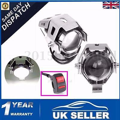 2x 125W Motorcycle Motorbike LED U5 Headlight Driving Fog Spot Light Bulb chrome