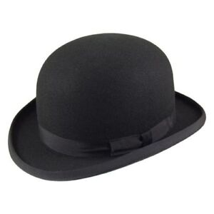 62f9ba8d5 Details about Quality Black Wool Felt stiff bowler hat (Major Wear) satin  lined 5 sizes