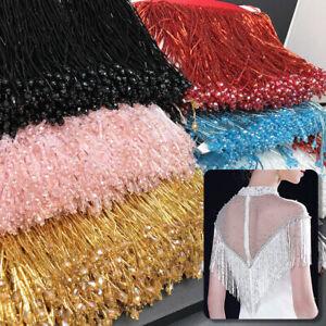Beaded-Glass-Tube-Fringe-Tassel-Trim-Lace-Ribbon-Dance-Costume-Party-Dress-1Yd