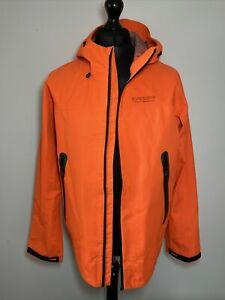 Superdry Men's Hydrotech Waterproof Neon Orange Rain Jacket Windbreaker L *READ*