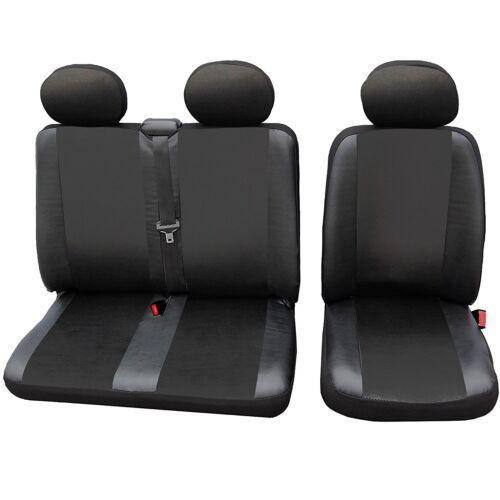 1+2 Sitzbezug Schonbezüge für Peugeot ohne Seitenairbag Schwarz Kunstleder AS732