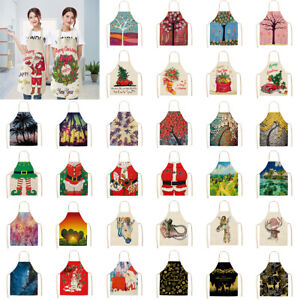 Christmas-Gift-Flower-Tree-Animal-Print-Xmas-Home-Cleaning-Decor-Kitchen-Aprons