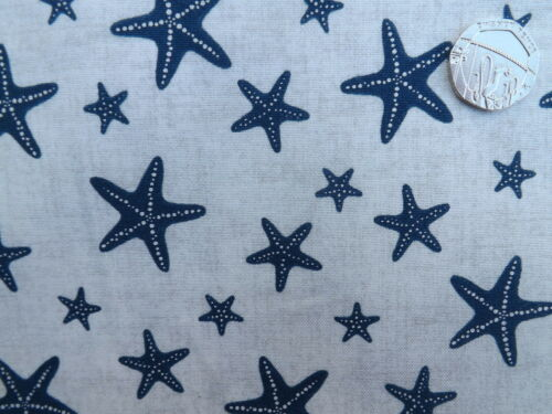 Seaside Sea View starfish on beige fabric fq 50x56 cm Makower MK1638 100/% Cotton