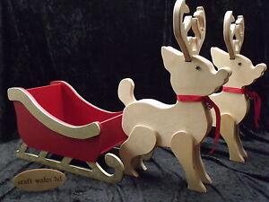 Slitta-Renna-IN-LEGNO-MDF-Babbo-Natale-Natale-Decorazioni-di-Natale-non-associate