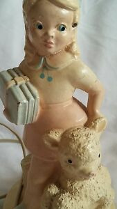 Vintage-Chalkware-Lamp-Mary-Had-a-Little-Lamb-Works-13-Inches