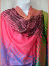 Striped Semi Pashmina and Silk Shawl, Stole,Wrap pink, purple, peach from India