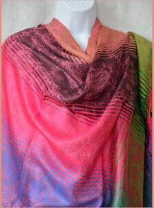 Striped-Semi-Pashmina-and-Silk-Shawl-Stole-Wrap-pink-purple-peach-from-India