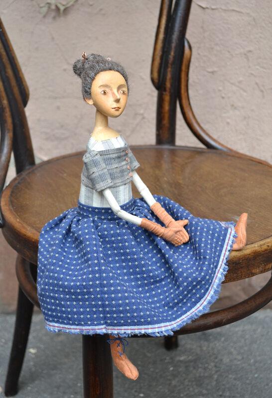 Arte Muñeca, hecho a mano Artesanal Papel Maché Paño muñeca de juguete niña-, uno de una clase, artista moderno