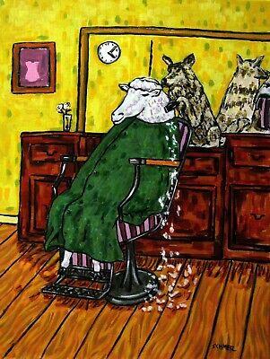 SHEEP wolf haircut salon art PRINT barber 13x19 poster gift modern JSCHMETZ