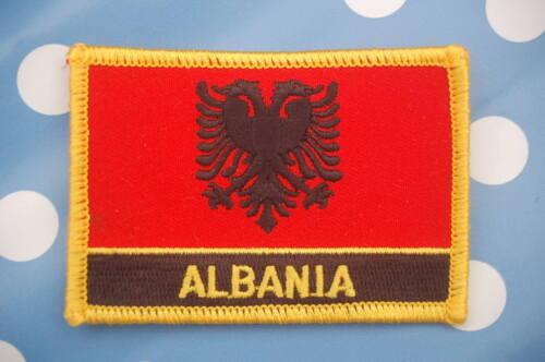 Albanien Aufnäher Aufbügler Patch Schrift Flagge