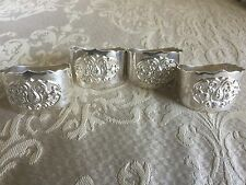 ANTIQUE four (4) NAPKIN HOLDERS RINGS SILVER MARKED  HD 800