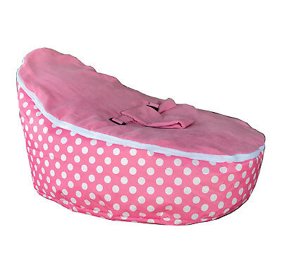 for Kids Pre Filled with 2 Removable Covers /& Harness Pink Polka Dots Baby Bean Bag Chair