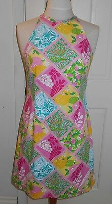 Womens LILLY PULITZER Patchwork Sea Shell Gators Flowers Sleeveless Dress~6~SALE