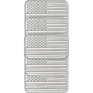 American Flag Bar By Silvertowne 1oz 999 Silver Bar 5pc