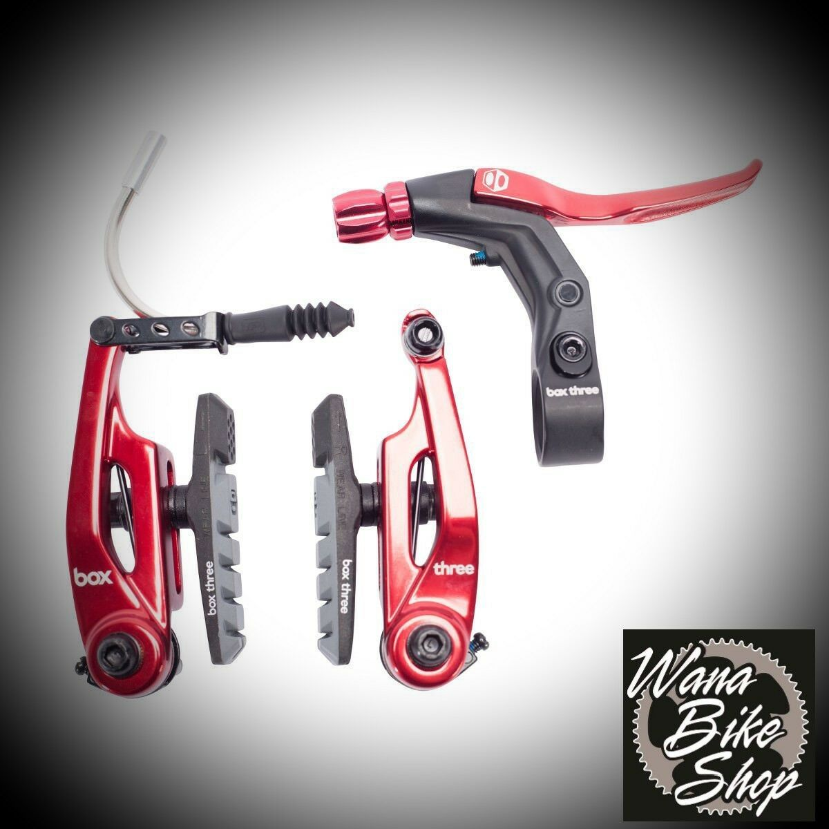 BRAKE KIT BOX THREE Mini Jr Expert  V Brake 85mm w LEVER RED AND CABLE  the most fashionable