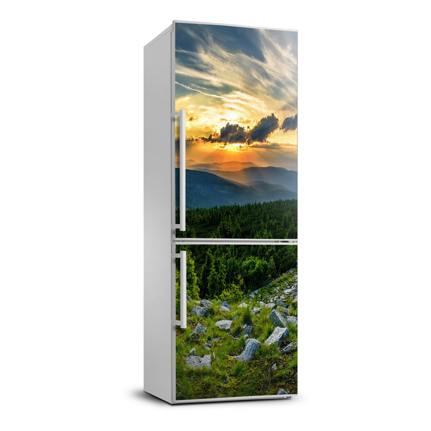 Fridge Self Adhesive Removable Sticker Landscapes Panorama of mountains