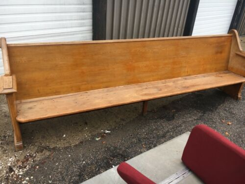 "circa 1880 heart pine church pew bench COMFORTABLE seat w cushion 117"" L x 37"" h"
