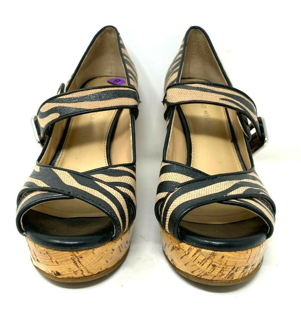 Antonio Melani Animal Peep Toe Mary Jane Cork Wedge Platform Shoe Womens SZ US8