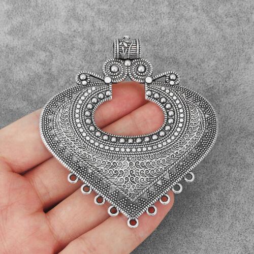 2 Large Tibétain Argent Filigrane Cœur Ouvert Multi Strand connecteur bijoux perles