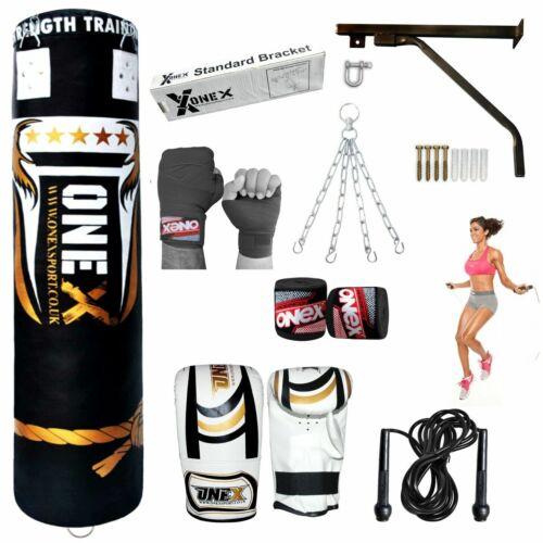 ONEX 5ft Riempito Heavy Punch Bag Catena STAFFA BOXE KICK BOXING MMA Set