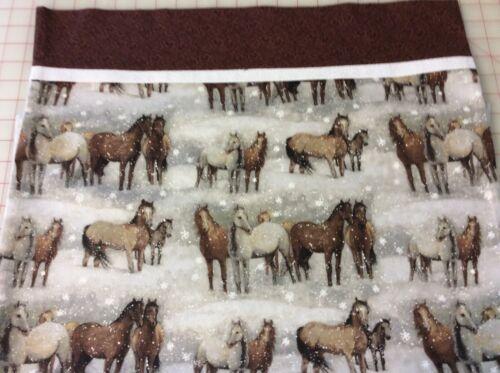 Handmade Soft Flannel Cotton HORSES Fabric PILLOWCASE W// Hidden Seams NEW
