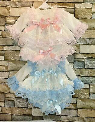 DREAM 0-5 YEARS BABY LILAH RANGE SUMMER TOP AND FRILLY BUM PANTS OR REBORN DOLLS