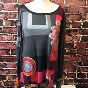 Desigual-Donna-Superdry-Taglia-Large-Top-Shirt-Tunica-con-paillettes-e-Floreale-Brillante-Rosso-Nero