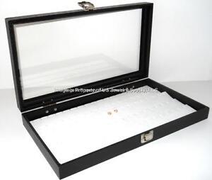 Locking Aluminum Glass Top Jewelry black 72 Ring Display Storage boxes Case
