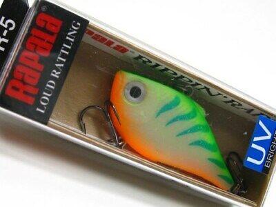 "Rapala Rippin/' Rap RPR-5 Firetiger Bass Fishing Lure RPR05 FT  2/"" 5//16 oz"