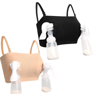 Details about  /2 HOFISH Hands-Free Pumping Bra Bustier Beige /& Black Breast Pump Sz Medium NEW