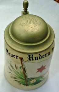 BIERKRUG-0-5L-STEINZEUG-METTLACH-1526-Dauer-Rudern-1905-Zinndeckel-Krug-von-1904
