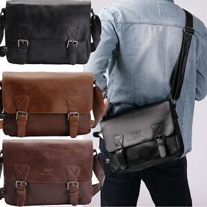 Hommes-Vintage-cuir-epaule-sacs-Messenger-sac-cartable-ordinateur-portable