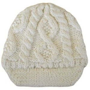 Details about Ex Asos Brown White Cable Knitted Winter Fluffy Jaxon Skully Hat  Visor Beanie 70ef2fee5f7