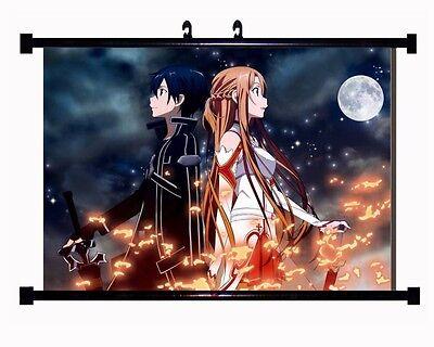 """HOME Decor Anime Poster Wall Scroll Sword Art Online """"SAO"""" Kirito & Asuna Canvas"""