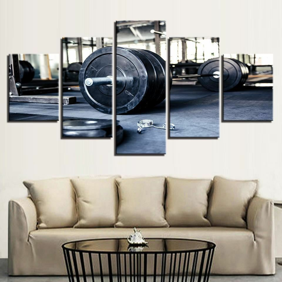 Weightlifting Gym Fitness 5 panel canvas Wall Art Home Decor Poster Picture