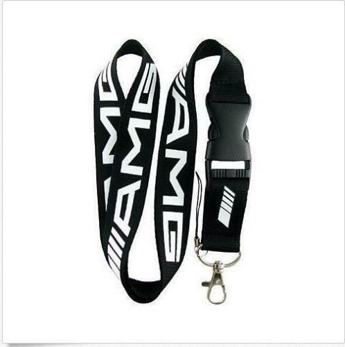 Sports Car Black White Lanyard NEW UK Seller Keyring ID Holder Strap