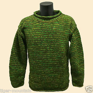 HIPPY-BOHO-CASUAL-COSY-HAND-KNITTED-MOTTLED-GREEN-CREW-NECK-JUMPER-FAIR-TRADE
