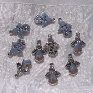 5 breloques anges perles charms en métal argenté 18mm x 13mm *B495