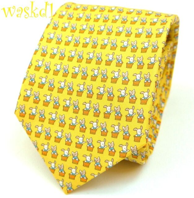 e1b953cd37f7 SALVATORE FERRAGAMO yellow CATS & DOGS in orange baskets silk MENS tie NWT  Auth