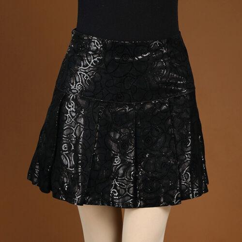 16342 New Women/'s Genuine Leather Skirts Pleated Skirt High Waist Printed Skirts
