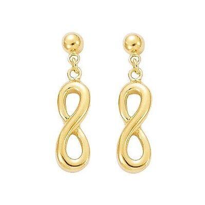 Boucles D'Oreilles PENDANTES INFINITY Symbole infini en Plaqué OR NEUF