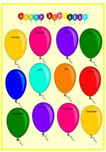 Image Is Loading OUR BIRTHDAYS ON BALLOONS LAMINATED POSTER CLASSROOM CHILDMINDER