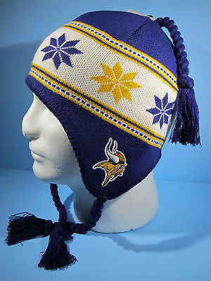 NFL MINNESOTA VIKINGS TASSEL KNIT HAT NFL TEAM APPAREL YOUTH - NWT