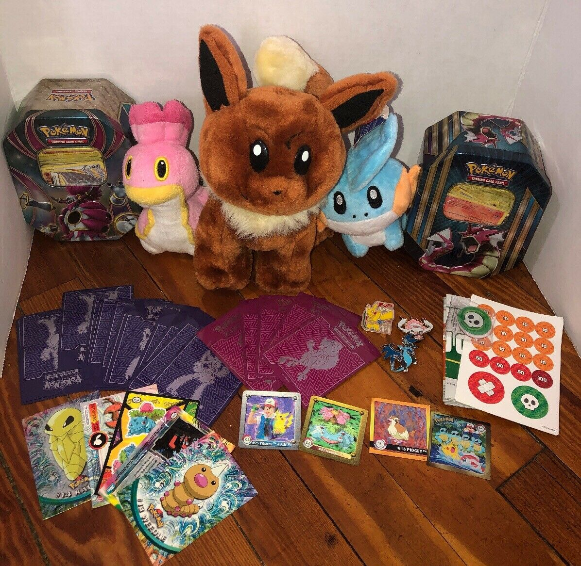 Pokemon Mystery  Mixed Card Lot Plushies Pins Tins  Topps Collection